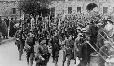 Dublin Fussileers, marching out of barracks and off to war.