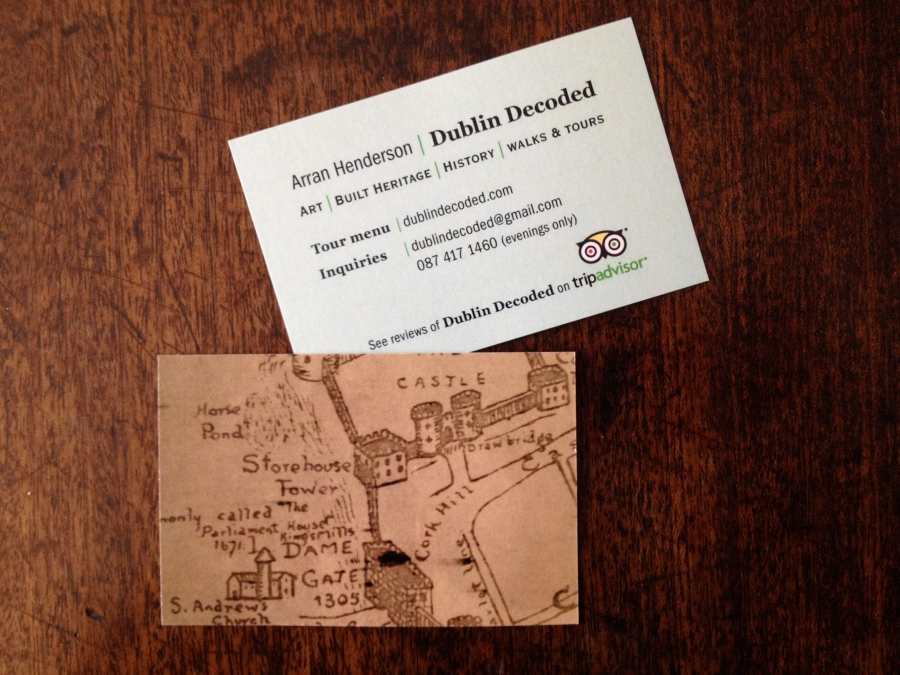 Arran's Dublin Decoded Bussiness card both sides