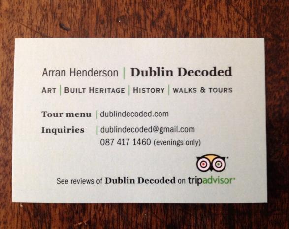 Arran's Dublin Decoded Bussiness card  Reverse