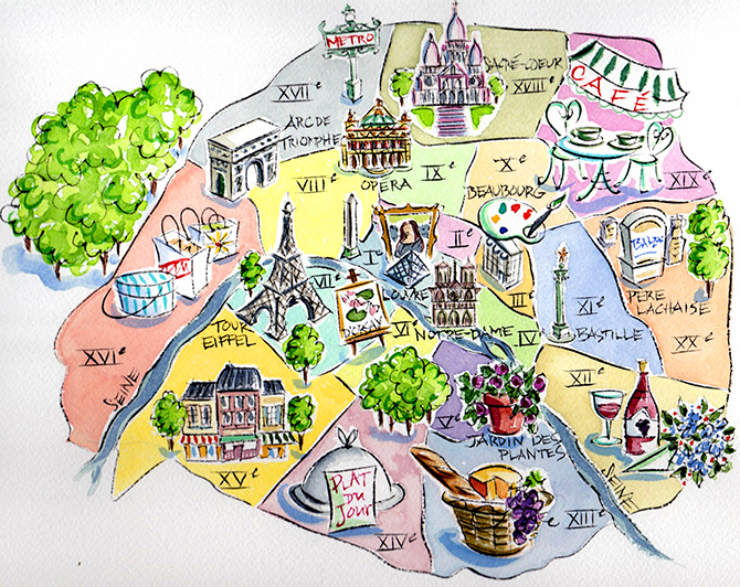 Cartography Image Iconography From The City Of Lights Paris By Map Era Arran Q Henderson