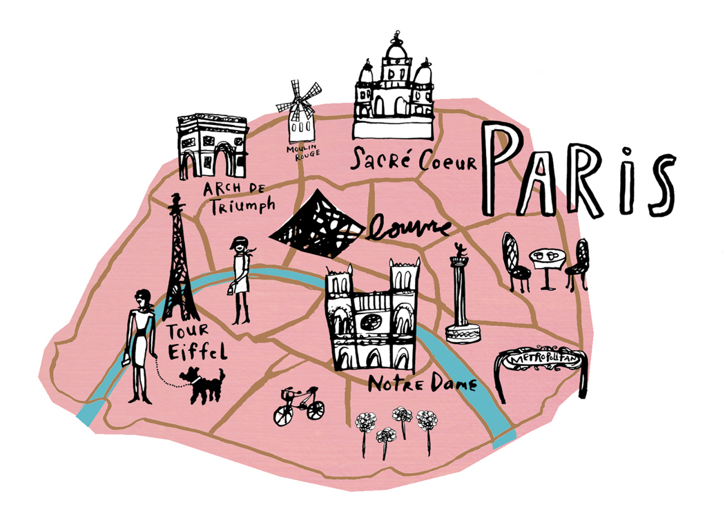 Cartography image iconography from the city of lights for Design paris
