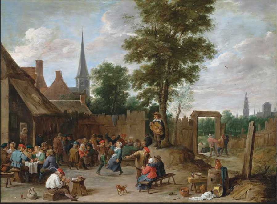 David Teniers the Younger  – A village inn with peasants dancing and merry making to the music of a hurdy-gurdy