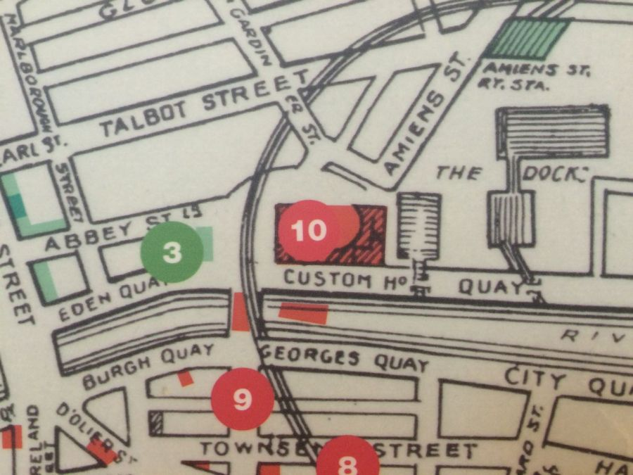 Map of 1916 positions from Dublin City Library exhibition Citizens in Conflict