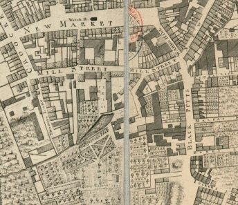 Mill and Mill St from Rocque Map.