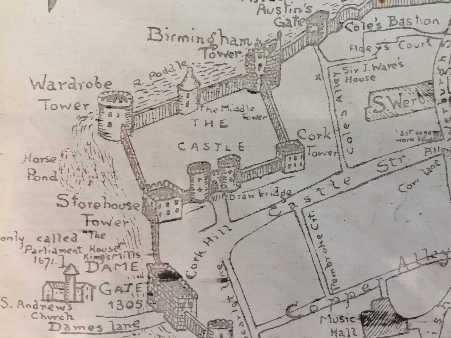 Fig 2 Castle Poddle Moat Detail from Leonard Stangeways Map 1904 CLoseUP