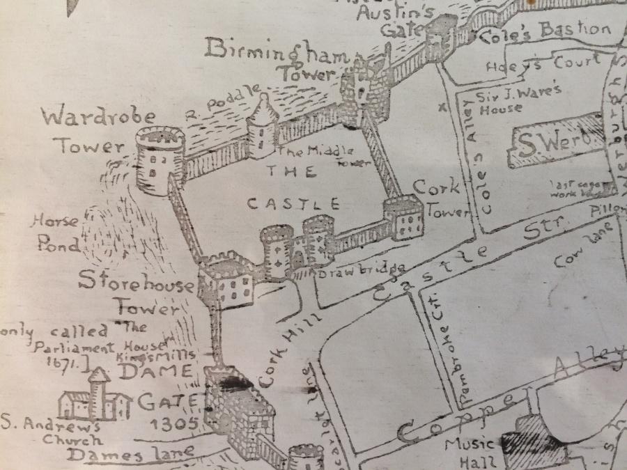Fig 2 Castle Poddle Moat Detail from Leonard Stangeways Map 1904 CLoseUP
