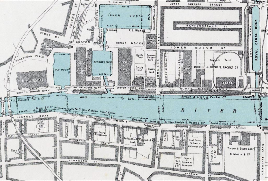 Map w Grnd Canal docks, georges doc Tongue and taggart Foundry, Guniness and brit & irish Steamshoip Co etc
