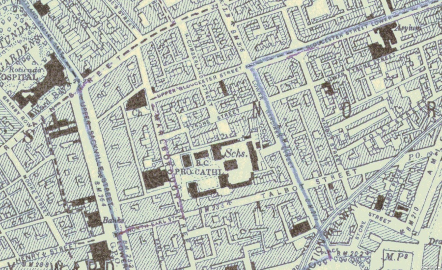 1912 OS Map O'Connell Sackville St area.