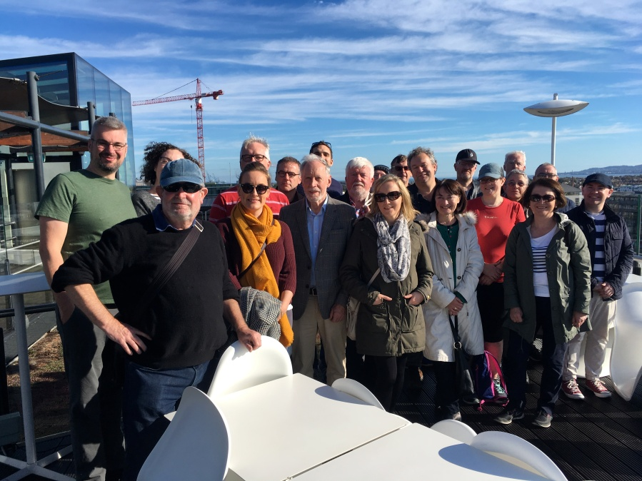 River- Docks walk, on roof of marker Hotel Arran Henderson with guests on a Dublin DEcoded tour